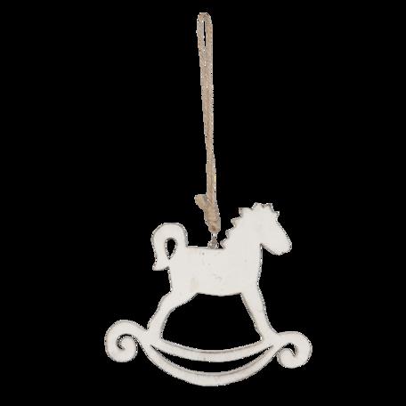 Hanger hobbel paard van hout (wit)