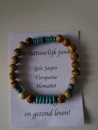 Armband Gele Jaspis turquoise