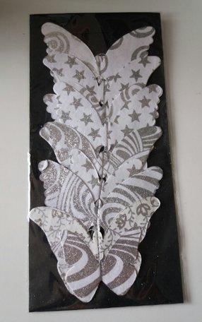 Slinger met vlinders wit/glitter