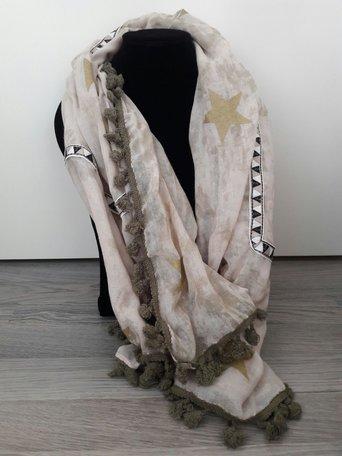Sjaal met bies van driehoekjes