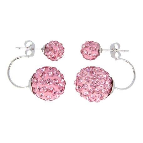Double dots oorbellen, roze
