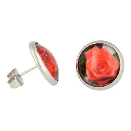 Oorbellen, stekers met een rode roos
