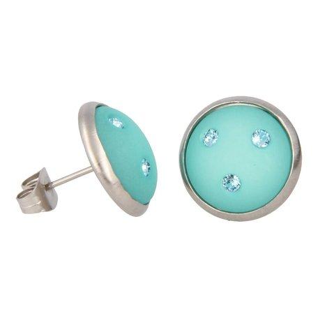 Oorbellen, Swarovski met kristal turquoise