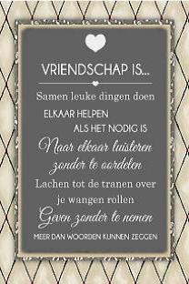Bordje vriendschap is....
