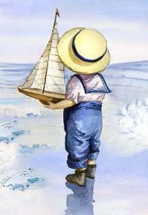 Bordje, jongetje met boot