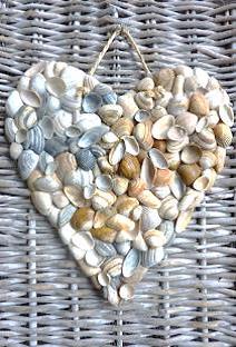 bordje Hart met schelpen