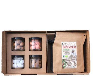 Koffie geschenkdoos met choco-amandelen