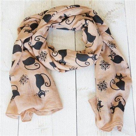 Sjaal, bruin met poezen