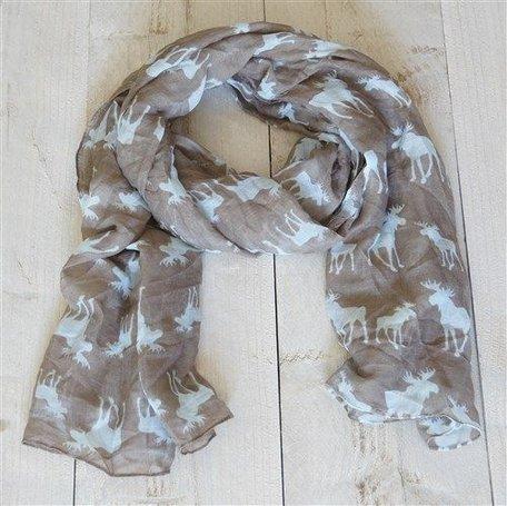 Sjaal, grijs met eland