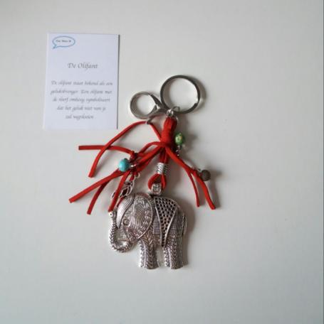 Olifant, sleutel/tashanger rood