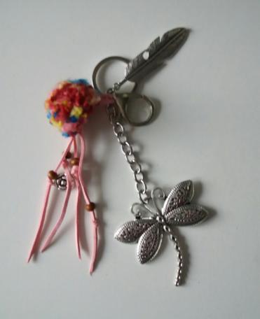Libelle, sleutel/tashanger roze