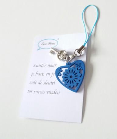 Sleutel gelukshanger (blauw)