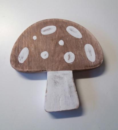 Paddenstoel van hout (16 cm)