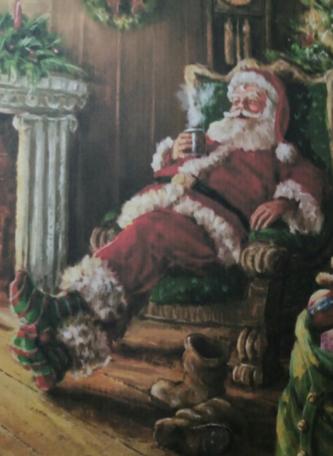 Bordje, kerstman bij de haard