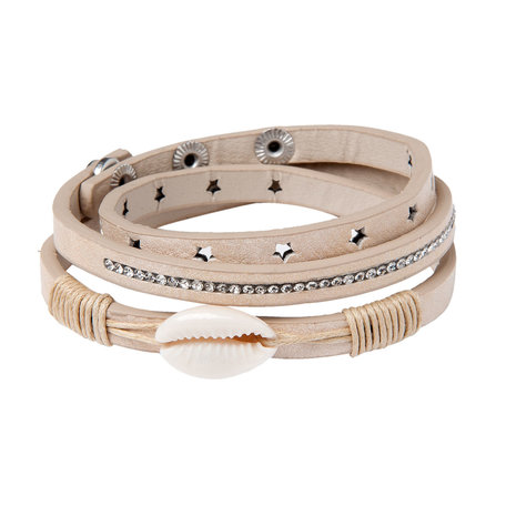 Stoere armband met schelp (beige)