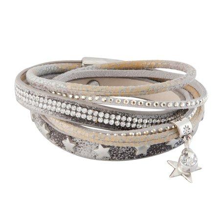 Armband met sterren en steentjes (beige)