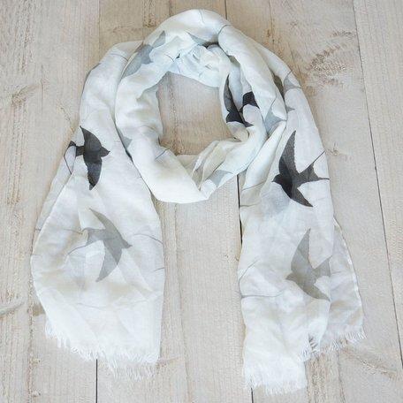 Sjaal, beige met vogels