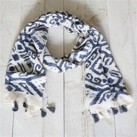 Sjaal, creme met grijs