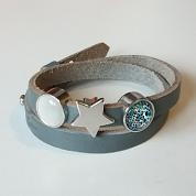 Grijze lederen armband met drie schuivers