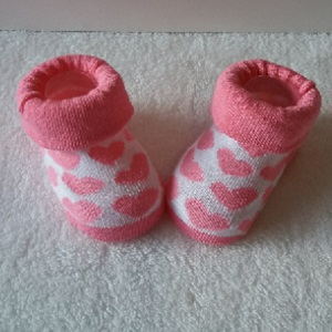 Baby sokjes roze/wit met hartjes