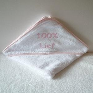 Badcape wit/roze 100% lief