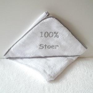 Badcape wit/grijs 100% stoer