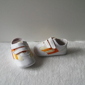 Baby sneakers, wit/oranje