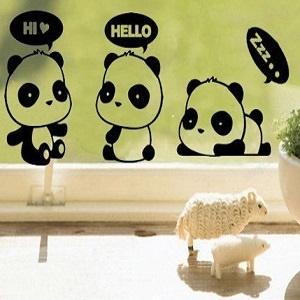 Sticker schattige panda's