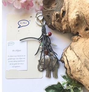 Olifant, sleutel/tashanger grijs