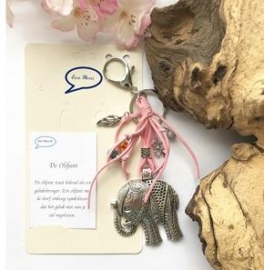 Olifant, sleutel/tashanger roze