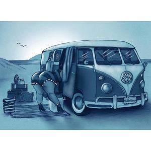 Diamond painting vw busje met