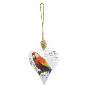 Decoratie hart met papegaai
