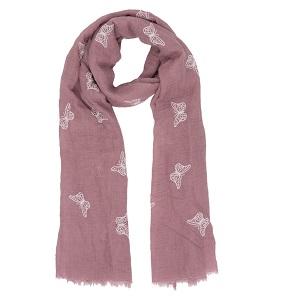 Aubergine kleurige sjaal met vlinders