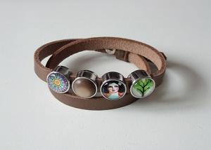 Bruin lederen armband met 4 schuivers