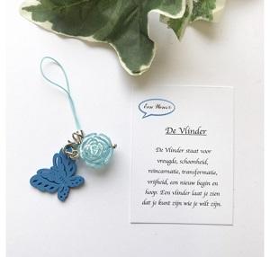 Vlinder met roos (blauw)