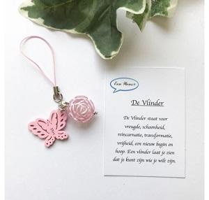 Vlinder met roos (roze)