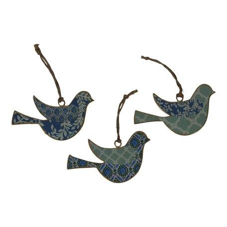 Vogel gekleurd patroon metaal (3 stuks)