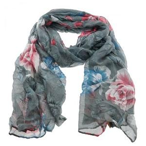 Sjaal, grijs met bloemen