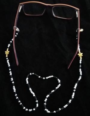 Brillenkoord zwart/zilver