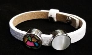Witte lederen armband met 2 schuivers