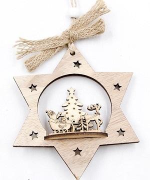 Houten kersthanger met arreslee
