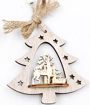 Houten kersthanger met rendieren