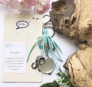 Olifant, sleutel/tashanger turquoise