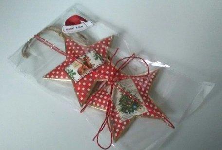 Metalen kerst hangers, 2 stuks