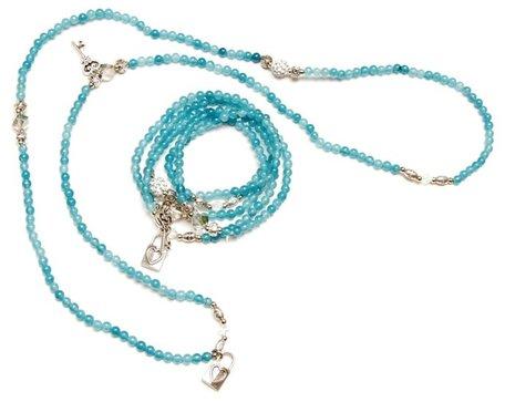 Wikkel armband/collier turquoise