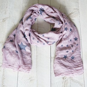 Sjaal, fuchsia met sterren