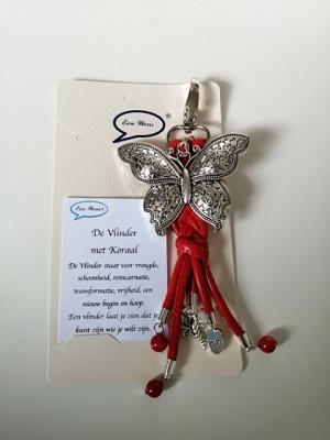 Vlinder met natuursteen Koraal