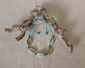 Enkelbandje schelp, turquoise