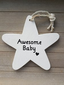 Awesome Baby houten bordje