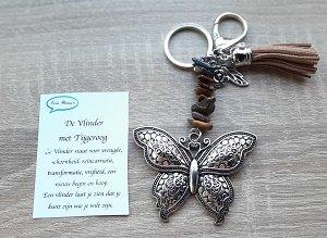 Sleutelhanger vlinder met natuursteen tijgeroog